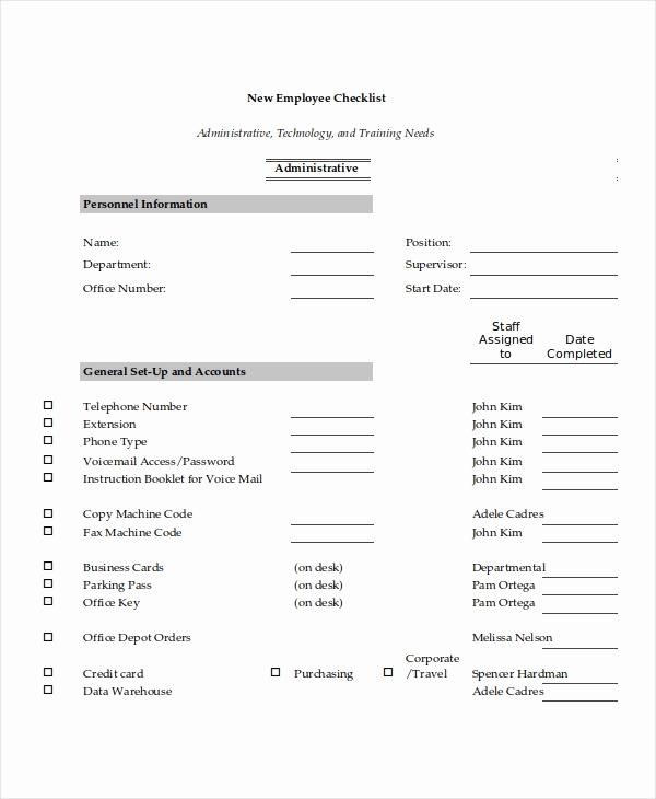 New Hire Checklist Template Elegant 17 Checklist Templates