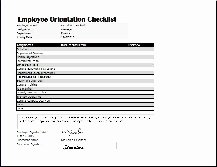 New Hire Checklist Template Luxury Employee orientation Checklist Template
