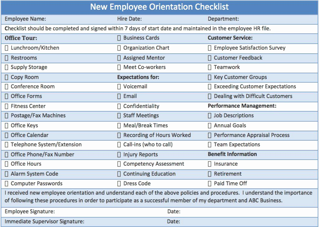 New Hire Checklist Template Luxury New Employee orientation Checklist Career Info