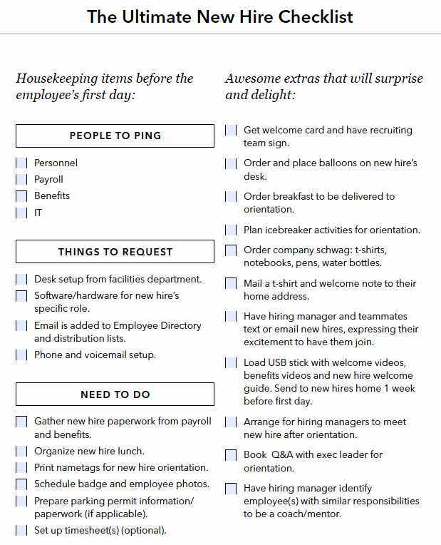 New Hire Checklist Template New A Checklist for Everything You Need to Do when You Hire A