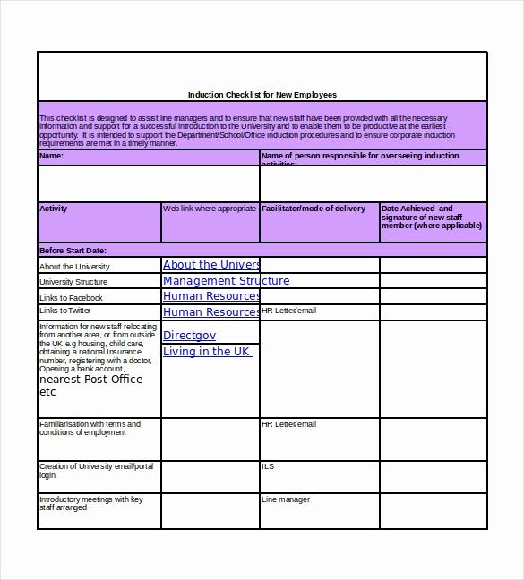 New Hire Checklist Template Unique New Hire Checklist Template 17 Free Word Excel Pdf