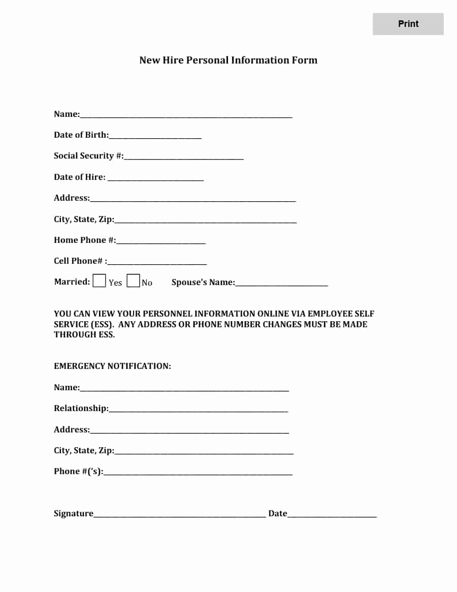 New Hire forms Template Beautiful 47 Printable Employee Information forms Personnel
