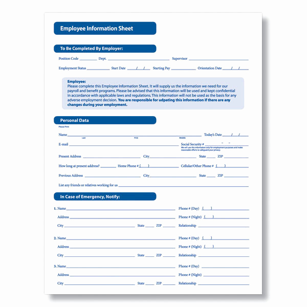 New Hire forms Template Beautiful Downloadable New Employee Information Sheet From Plyright