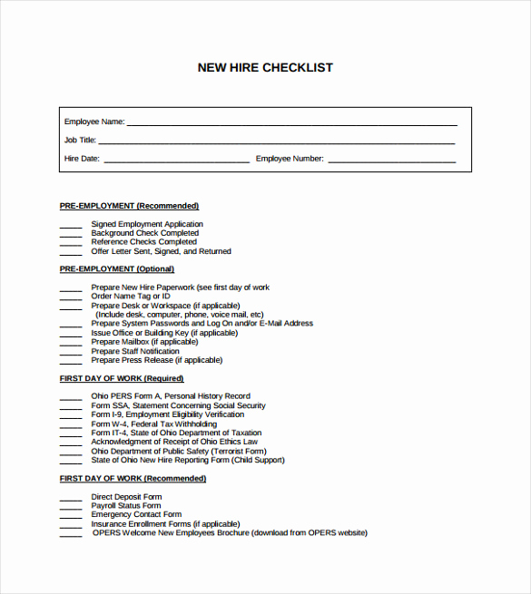 New Hire forms Template Elegant Sample New Hire Checklist Template 11 Documents In Pdf