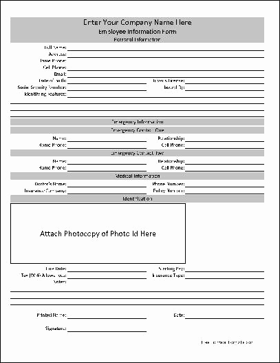 New Hire forms Template Fresh Free Personalized Employee Information form From formville