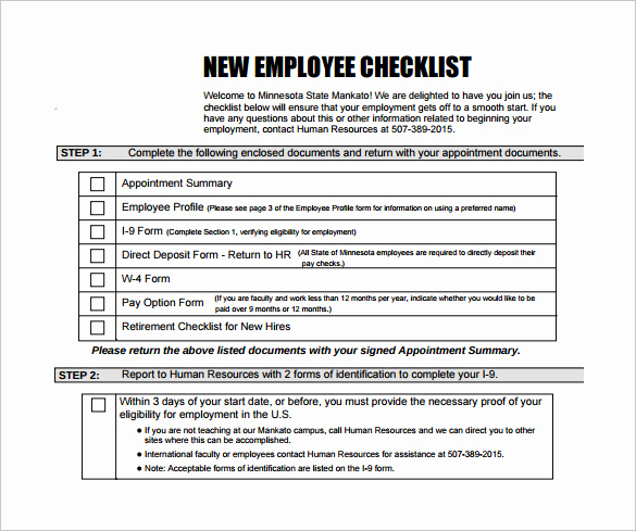 New Hire forms Template Inspirational Sample New Hire Checklist Template 11 Documents In Pdf