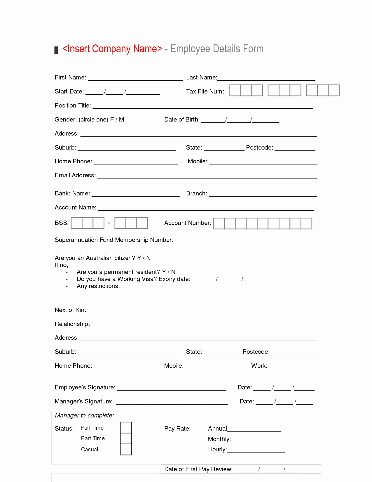 New Hire forms Template New New Hire Employee Details form Template Sample Vlashed