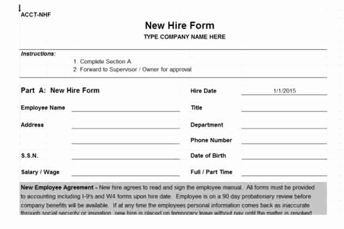 New Hire forms Template New Payroll Controls and Procedures Vitalics