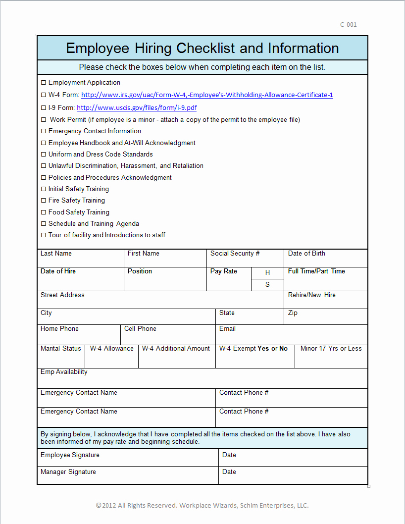 New Hire forms Template Unique New Hire Checklist Self Improvement