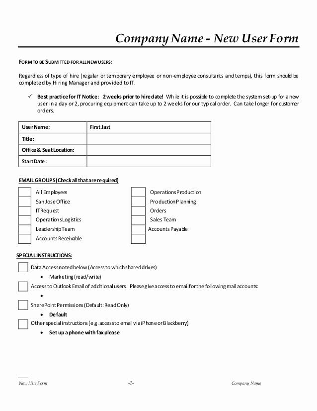 New Hire forms Template Unique New Hire It Request form