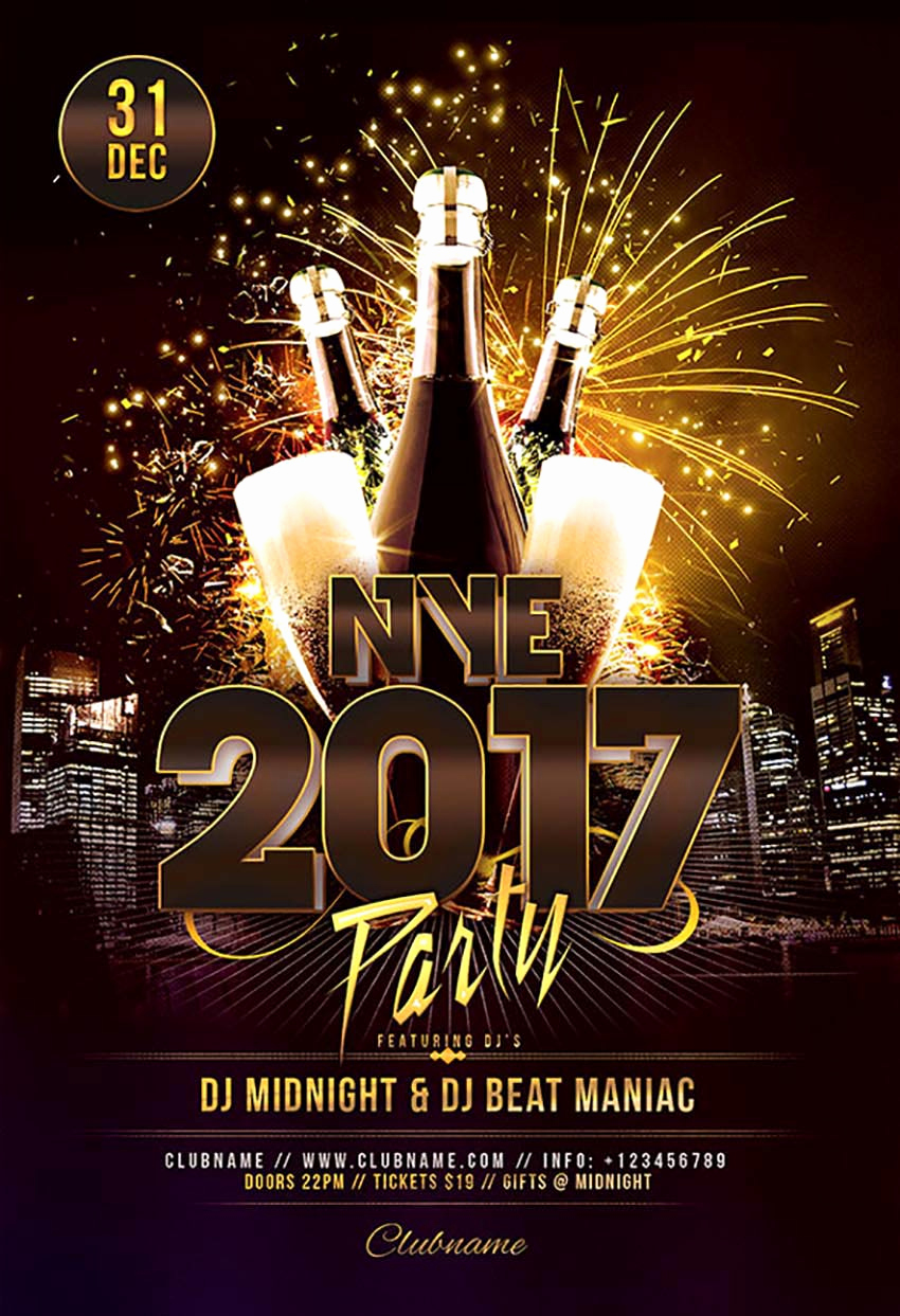 New Years Eve Flyer Awesome 50 Amazing Christmas and New Year S Eve Flyers for the