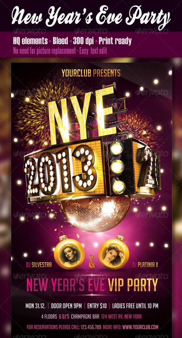 New Years Eve Flyer Best Of 23 Festive Christmas and New Years Eve Holiday Flyers