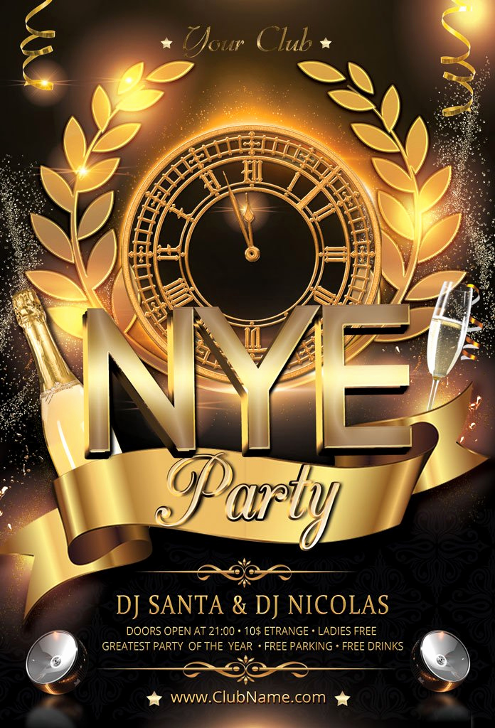 New Years Eve Flyer Luxury New Year Party Flyer Flyer Templates Creative Market