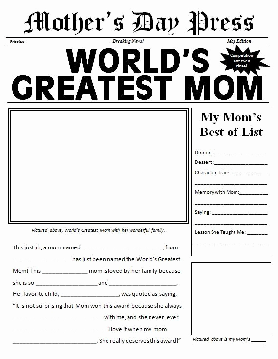 Newspaper Template for Kids Fresh Free Printable Mother S Day Newspaper Template