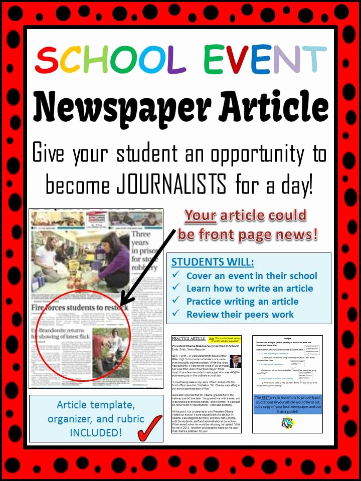Newspaper Template for Kids Luxury School event Newspaper Article Peer Review Template