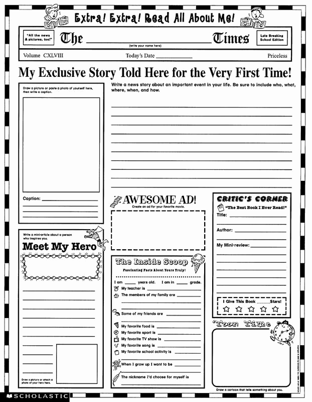 Newspaper Template for Kids New Colonial Newspaper Template for Kids