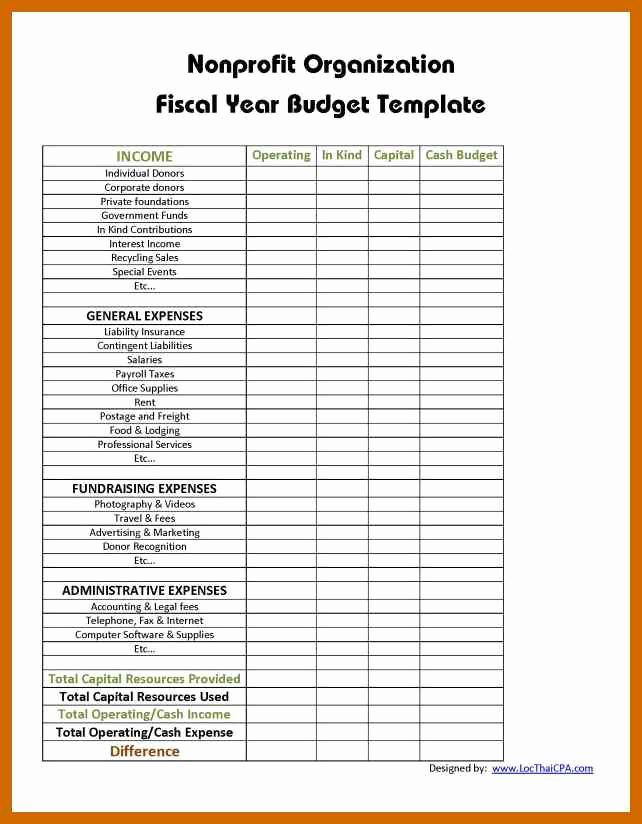 Non Profit Budget Template Elegant 6 7 Sample Nonprofit Bud