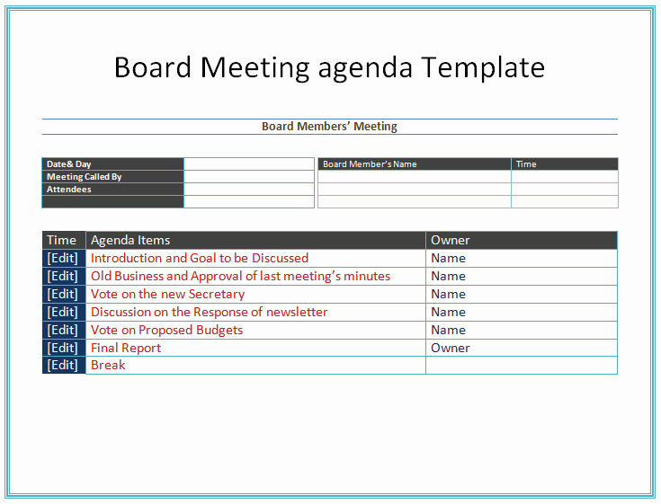 Nonprofit Board Meeting Agenda Template Awesome Board Meeting Agenda Template Easy Agendas