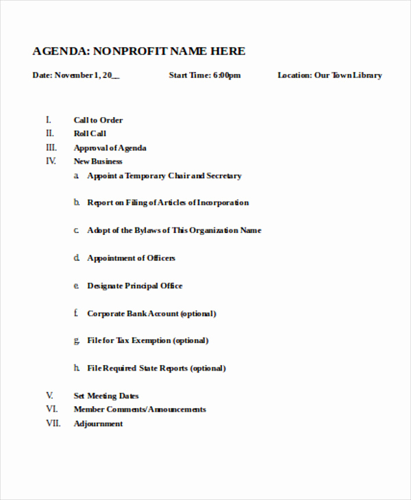 Nonprofit Board Meeting Agenda Template Awesome Nonprofit Agenda Templates 7 Free Sample Example