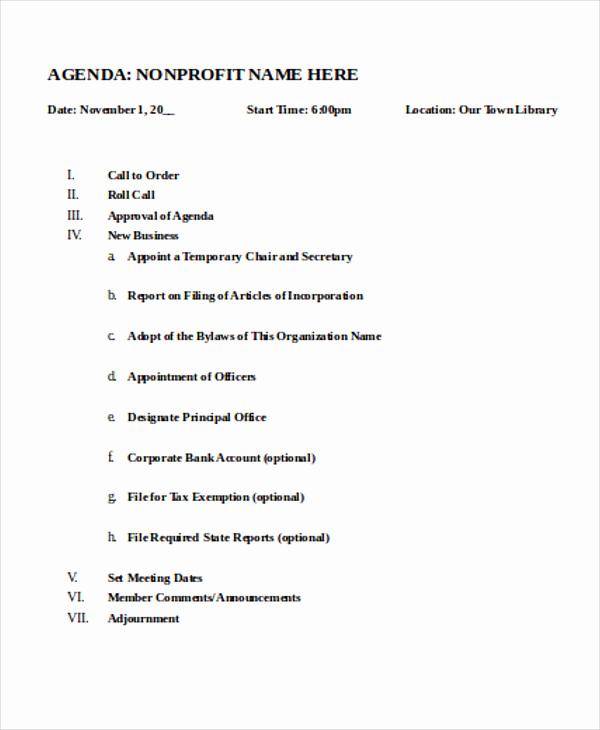 Nonprofit Board Meeting Agenda Template Awesome Nonprofit Agenda Templates 7 Free Sample Example