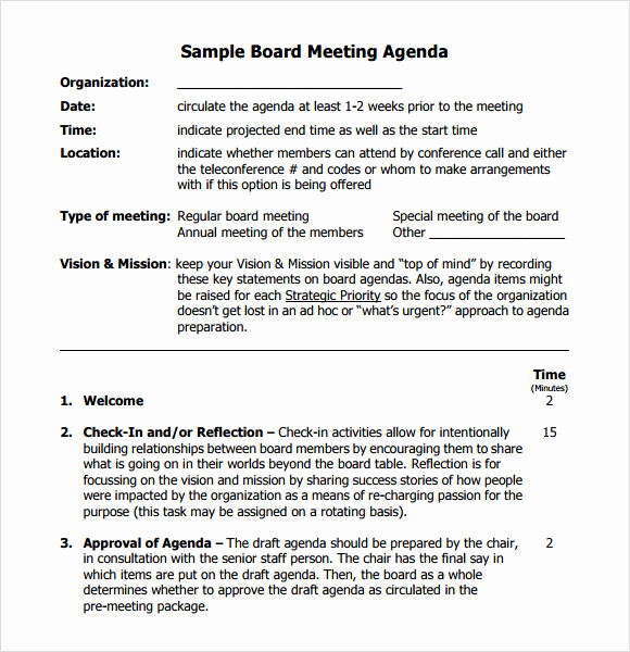 Nonprofit Board Meeting Agenda Template New Board Meeting Agenda 11 Free Samples Examples format