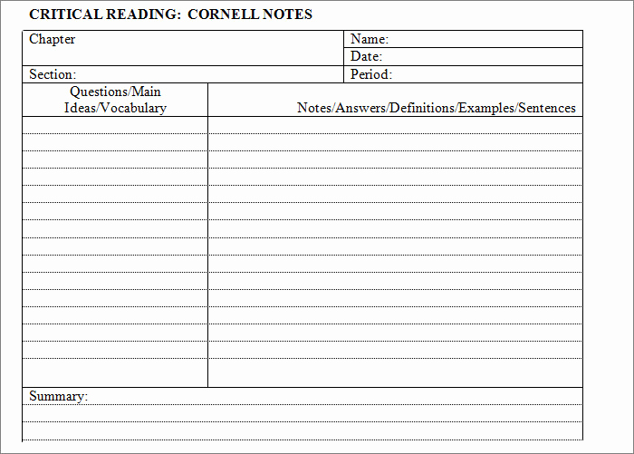 Note Taking Template Word Beautiful Cornell Notes Template 51 Free Word Pdf format
