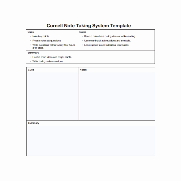 Note Taking Template Word Best Of 16 Sample Editable Cornell Note Templates to Download