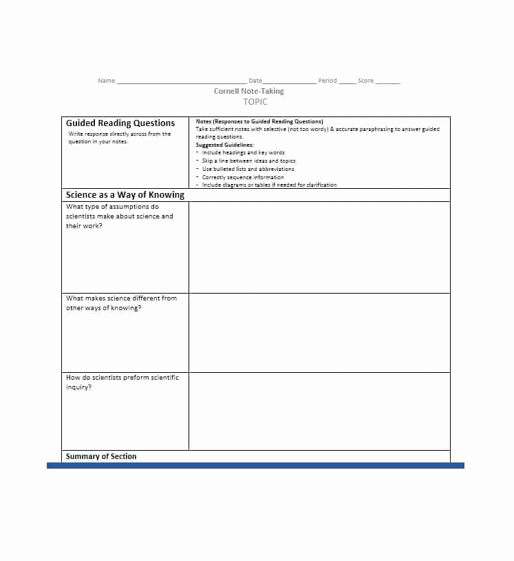 Note Taking Template Word Lovely 36 Cornell Notes Templates & Examples [word Pdf]