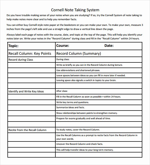 Note Taking Template Word Luxury Sample Cornell Note Taking Template 8 Free Documents In