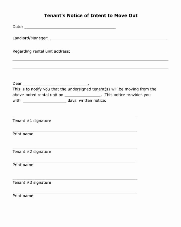 Notice Letter to Landlord Awesome Free Printable Letter Tenant S Notice Of Intent to Move