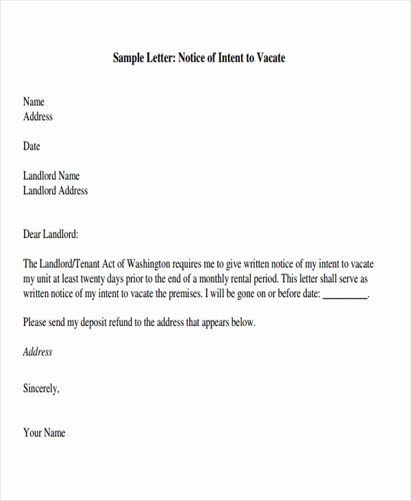 Notice Letter to Landlord Elegant Tenant Letter Templates 9 Free Sample Example format