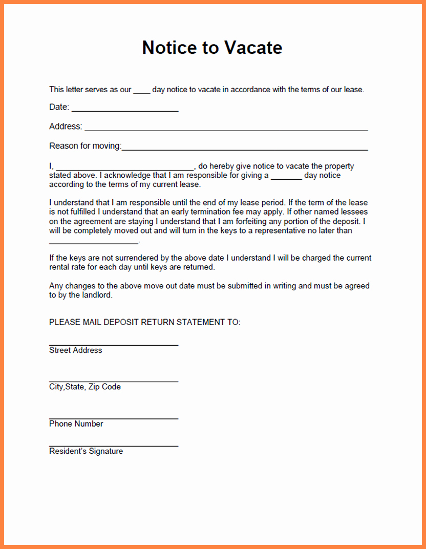 Notice Letter to Landlord Fresh 7 Giving Notice Letters