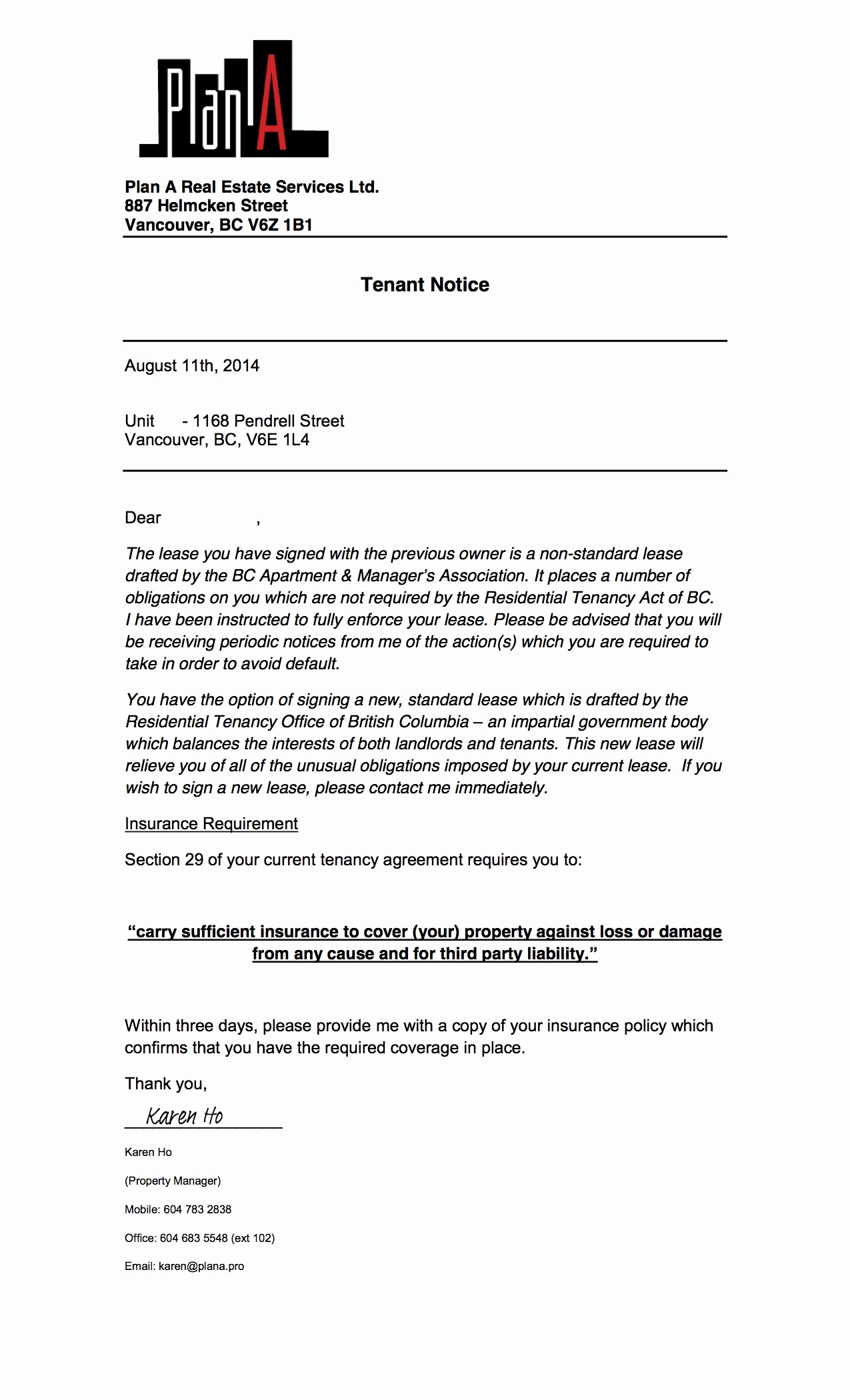 Notice Letter to Landlord New Greedeviction 1168pendrell