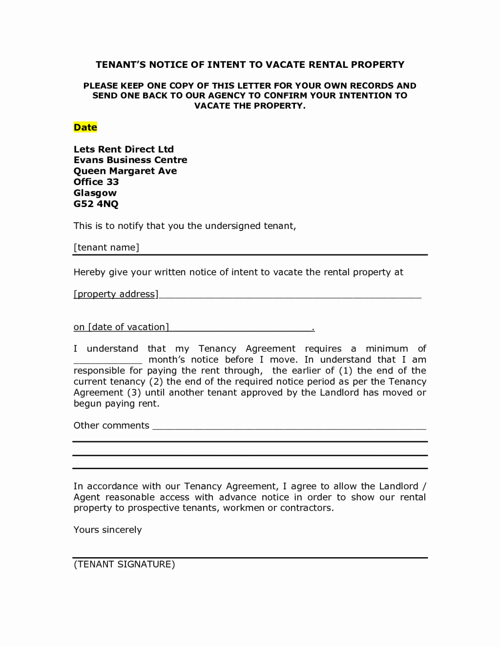 Notice Letter to Landlord New Landlord Notice Letter to Tenant Template Examples