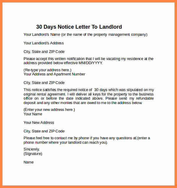 Notice Letter to Landlord Unique 6 Example Of A 30 Day Notice