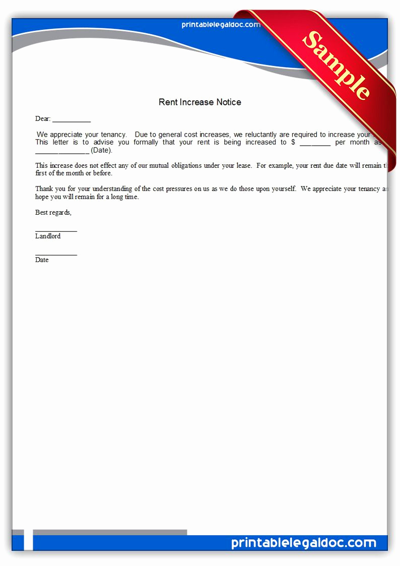 Notice Of Rent Increase Best Of Free Printable Rent Increase Notice Legal forms