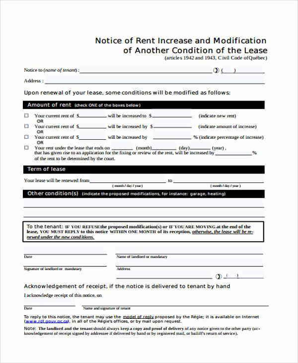 Notice Of Rent Increase Elegant 35 Notice form Examples