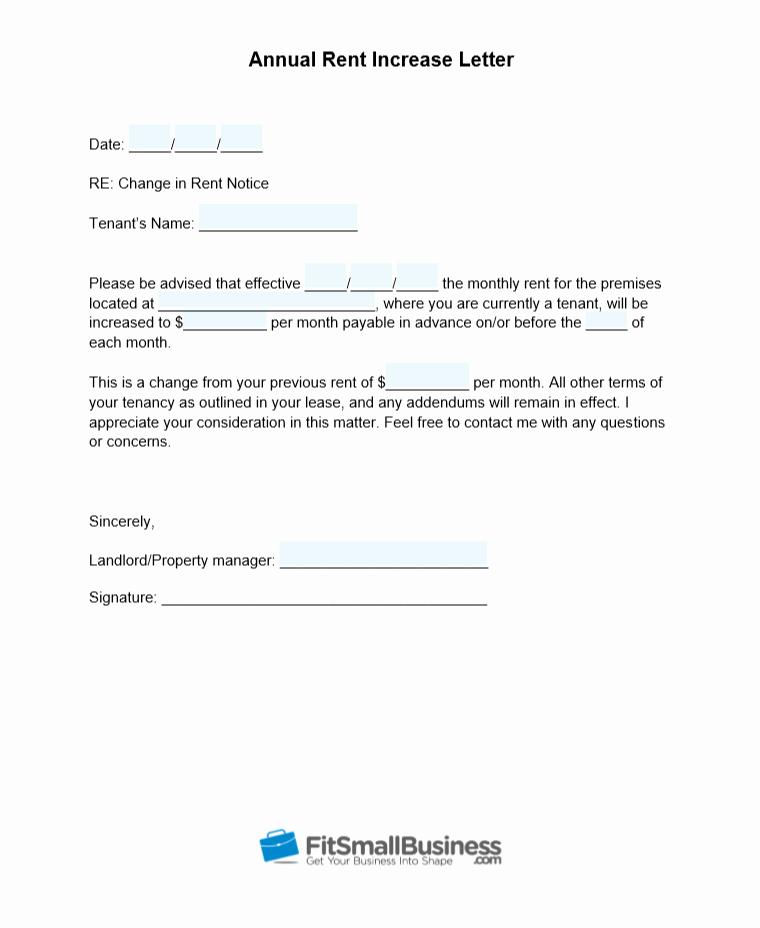Notice Of Rent Increase Elegant Sample Rent Increase Letter [ Free Templates]