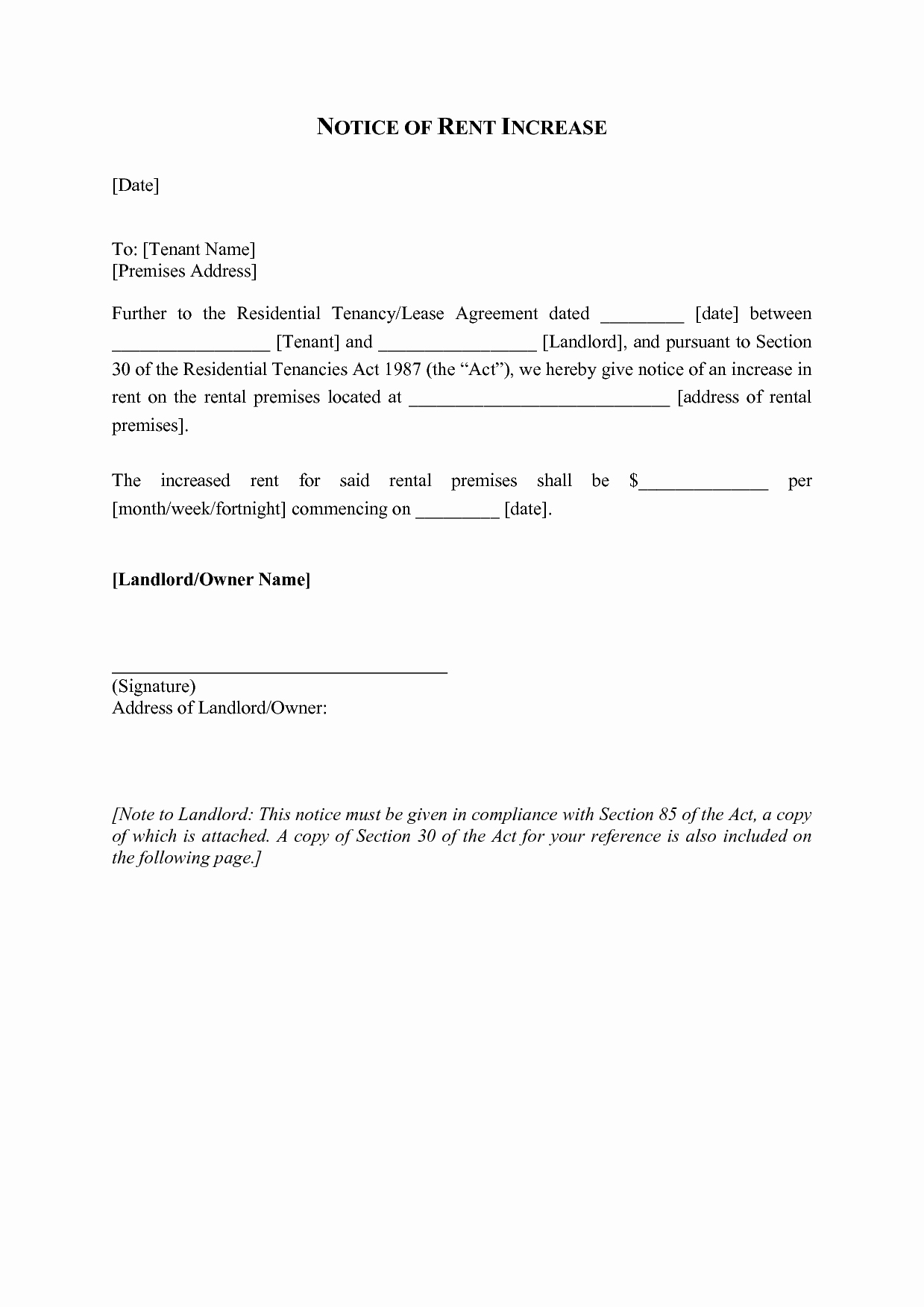 Notice Of Rent Increase form Awesome Best S Of Sample Letters to Raise Rent Rent