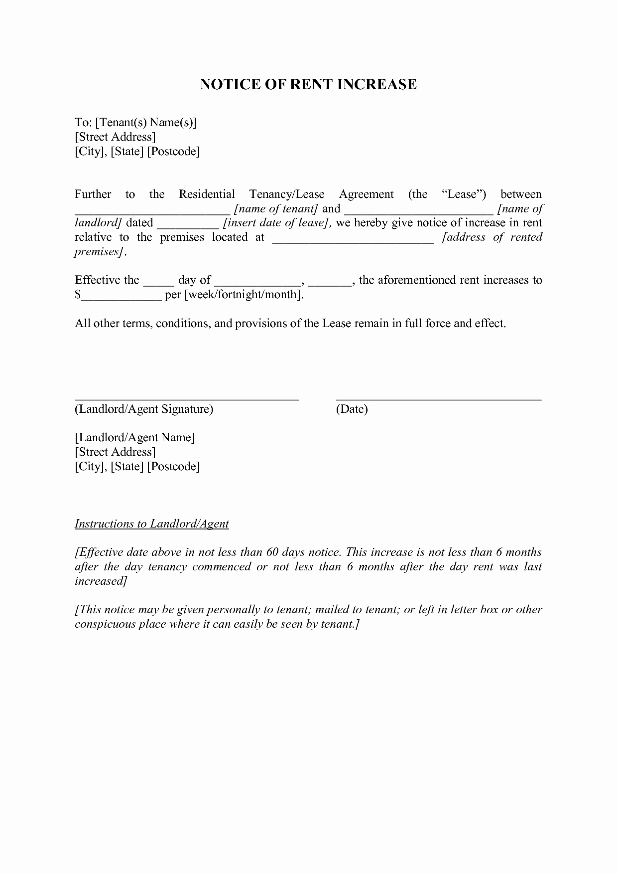 Notice Of Rent Increase form Inspirational Rent Increase Letter California Ac Odationintuscany