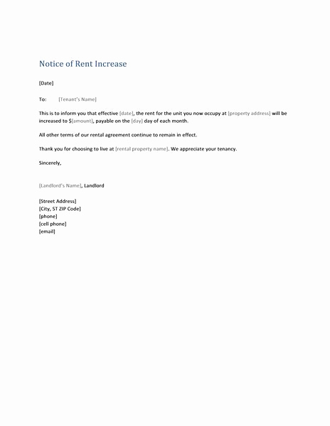 Notice Of Rent Increase form Lovely Notice Of Rent Increase form Letter Templates