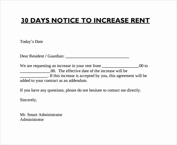 Notice Of Rent Increase Lovely 9 Sample Rent Increase Letter Templates Pdf Word