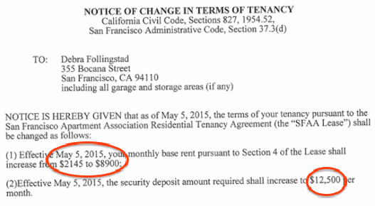 Notice Of Rent Increase Unique San Francisco Tenant Outraged by Landlord Raising Rent