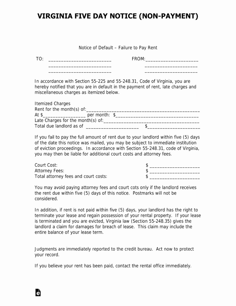 Notice to Quit form Awesome Virginia 5 Day Notice to Quit form