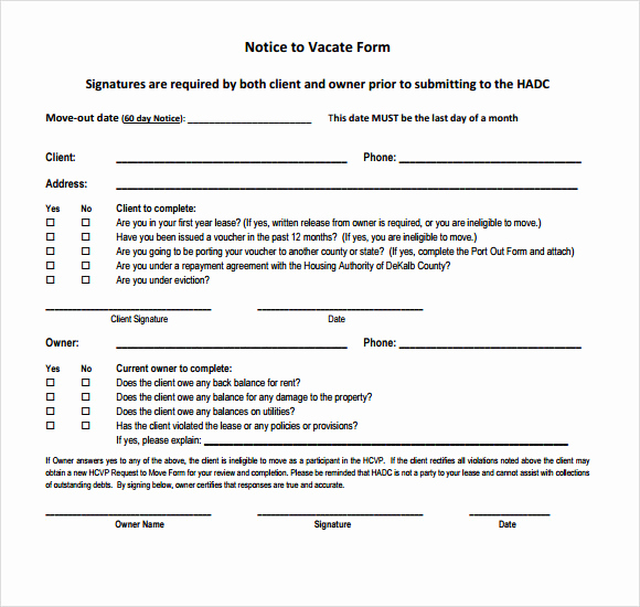 Notice to Quit form Beautiful 8 Notice to Vacate Samples Google Docs Ms Word Apple
