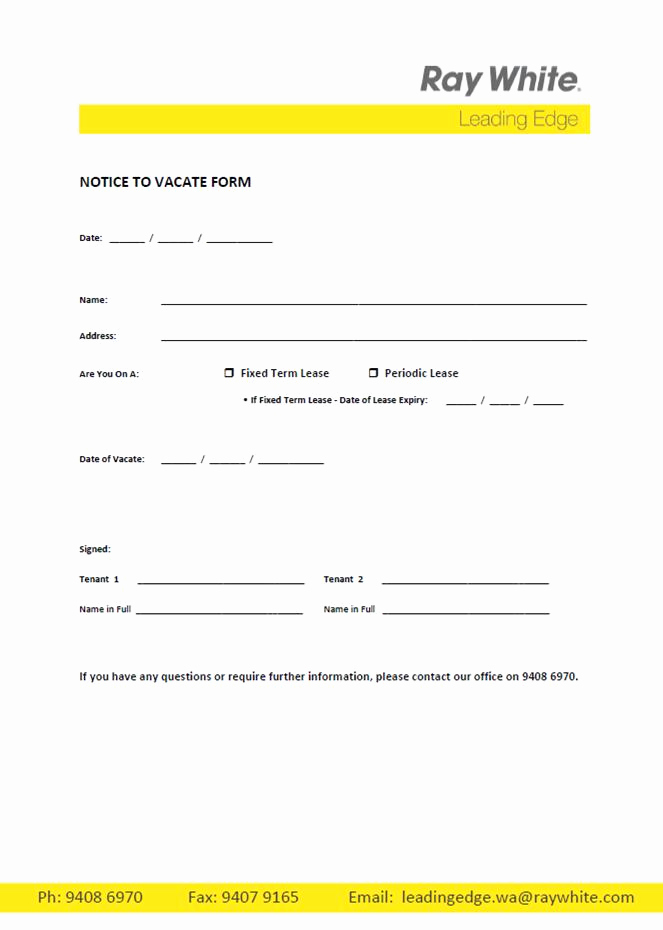 Notice to Quit form Elegant Free Printable Intent to Vacate Letter Template Vacate
