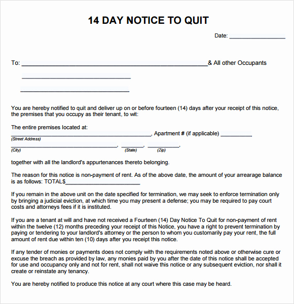 Notice to Quit form Inspirational 10 Notice to Quit Samples Google Docs Ms Word Apple