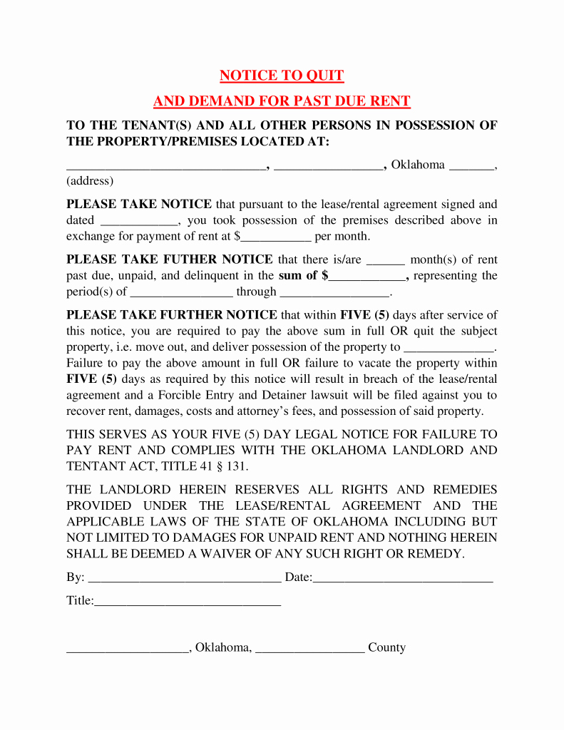 Notice to Quit form Inspirational Oklahoma 5 Day Notice to Quit form