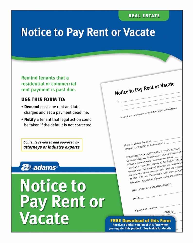 Notice to Quit form Lovely Adams Notice to Pay Rent Quit forms and Instructions