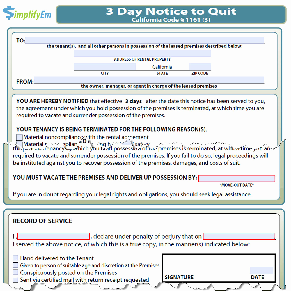Notice to Quit form New California Notice to Quit